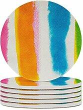 Set von 4 Untersetzern, farbig, ruhig,