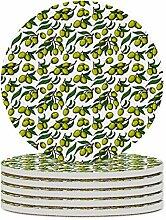 Set von 4 Untersetzern, Zweige, grüne