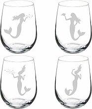 Set von 4Weinglas Goblet Weingläser ohne Stiel