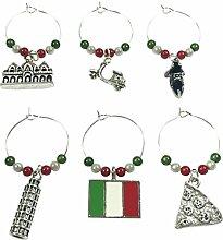 Set von 6Italien Wein Glas Charms mit Samtbeutel