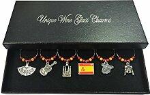 Set von 6Spanien Wein Glas Charms mit