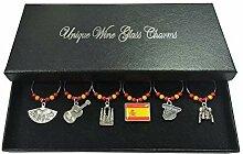 Set von 6Spanien Wein Glas Charms mit Organza