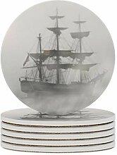 Set von 6 Untersetzer Grauer Nebel Piratenschiff