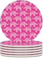 Set von 6 Untersetzer, niedlich rosa Elefanten,