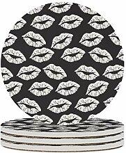Set von 6 Untersetzer schwarz-weiß Lippenkuss