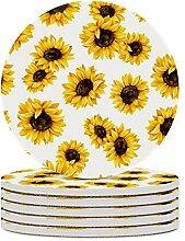 Set von 6 Untersetzer Sonnenblume Muster,