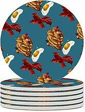 Set von 6 Untersetzer Speck Ei, leicht zu