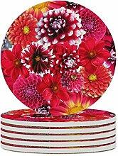 Set von 6 Untersetzern, blühende Blumen, leicht