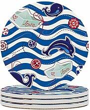 Set von 6 Untersetzern, Cartoon Sea,