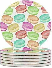 Set von 6 Untersetzern, farbige Macaron,