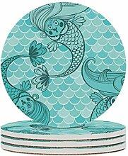 Set von 6 Untersetzern, niedlich Meerjungfrau