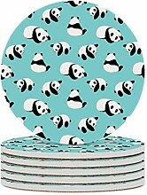 Set von 6 Untersetzern, niedlich Panda, leicht zu