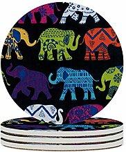 Set von 6 Untersetzern, schwarzer Elefant, leicht
