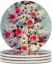 Set von 6 Untersetzern, Weihnachtsbaum, Rose,