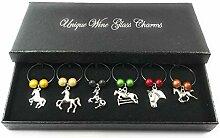 Set von 6Weinglas Horse Lovers Charms mit