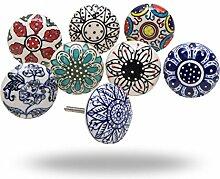 Set von 8 Keramik Schranktürgriffe Dessert Flower