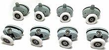 Set von 8Single Duschtürrollen/Läufer/Räder 23mm im Durchmesser, Roller diameter 23mm