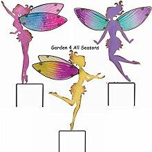 Set von drei große Creekwood (Regal Art & Geschenk) Fairy Garden Einsatz–je 1Pink, Lila, Gelb