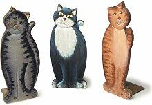 Set von drei Holz-Türstopper Katzen 9x je 26cms