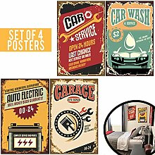 Set von vier 11x 17Retro Schilder für Garage.
