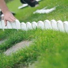 Set Zaun Rasenkante Beeteinfassung Palisade Gartenzaun 10 m Farbe weiß