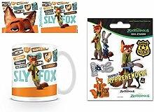 Set: Zoomania, Sly Fox Foto-Tasse Kaffeetasse (9x8 cm) Inklusive 1 Zoomania Poster-Sticker Tattoo Aufkleber (12x10 cm)