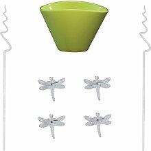 Set7 Orchideen Blumentopf Elyps schilfgrün mit Zubehör