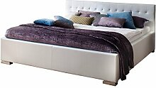 sette notti Bett 140x200 Weiß, Kunstlederbett mit