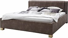 sette notti Polsterbett Bett 180x200 Braun Vintage