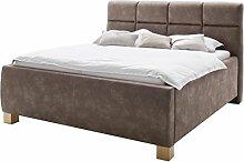sette notti  Polsterbett Bett 200x200 Braun Dark Vintage Look, Bett mit Bettkasten, Bett mit Boxspringbett-Optik mit Liegefläche 200x200 cm, Key West Art Nr. 1266-99-6000