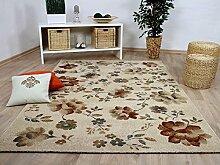 Sevilla Designer Teppich Klassik Blumen Beige in 5