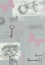Sevilla Designer Teppich Klassik Grau Rosa