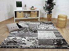 Sevilla Designer Teppich Klassik Grau Weiss