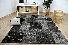 Sevilla Designer Teppich Modern Anthrazit Karo
