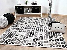 Sevilla Designer Teppich Modern Grau Creme Pixel