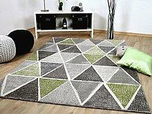 Sevilla Designer Teppich Modern Grau Grün Prisma