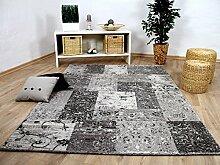 Sevilla Designer Teppich Modern Grau Karo Barock