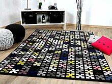 Sevilla Designer Teppich Modern Schwarz Bunt Pixel