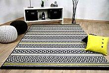Sevilla Designer Teppich Modern Schwarz Gelb