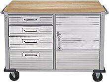 Seville Classics UHD20244 Werkbank mit 4 Schubladen, Metall pulverbeschichtet, Buche Holzarbeitsplatte, 121,9 x 50,8 x 95,2 cm, grau