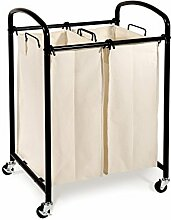 Seville Classics WEB276 Wäschesammler mit 2 Wäschesäcken, Metall, braun, 53 x 46 x 85 cm