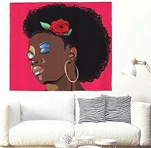 Sexy Afro Frau mit Rose Kunstwerk Wandteppich