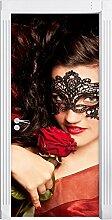 Sexy Frau mit Rose Shades of, als Türtapete, Format: 200x90cm, Türbild, Türaufkleber, Tür Deko, Türsticker