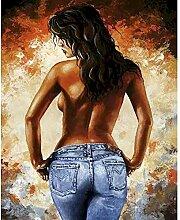 Sexy nackte Frau Mädchen malen nach Zahlen DIY