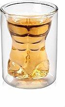 Sexy Schnapsglas Set Kristall ,Nackte Männliche Weinglas Whisky Kreative Bar Glas Doppelschicht Gläser Set Ideal Geschenk für Männer von Frauen(style-2)