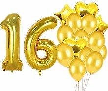 SFSL Partyzubehör zum 16. Geburtstag, Goldfarbene