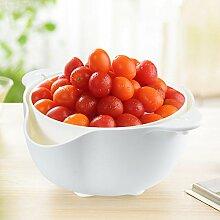 SGP-Fruit tray Doppelabfluss Korb Waschen Korb Tropfkorb Obst und Gemüse Abfluss Waschbecken Küche liefert (Kleine Weiße)