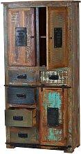 Shabby Chic Hochschrank in Braun Bunt Recyclingholz