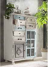 Shabby Chic Kommode aus Recyclingholz Mehrfarbig