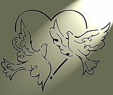Shabby Chic Schablone Tauben Kreis Herz Rustikal Mylar. Vintage A4297x 210mm Art Wand